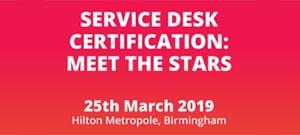 Service Desk Certification – Meet The Stars @ Hilton Birmingham Metropole